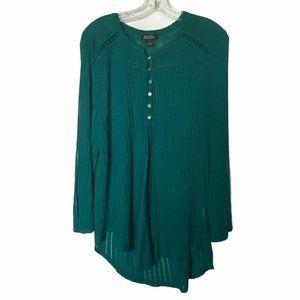 Lucky Brand Green Boho Henley Shirt Long Sleeve L